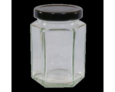 110ml Hexagonal Glass Food Jar With Black Twist Off Lid - Pack Of 6