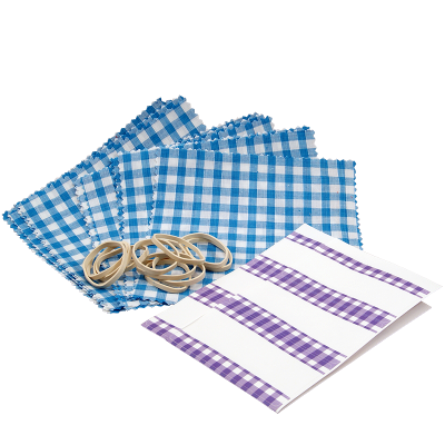 Pack of 12 Blue Gingham Cotton Jam Jar Covers With Bands & Labels