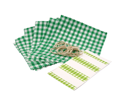 Pack of 12 Green Gingham Cotton Jam Jar Covers With Bands & Labels