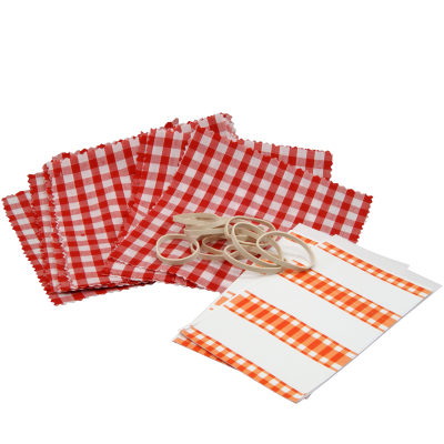 Pack of 12 Red Gingham Cotton Jam Jar Covers With Bands & Labels