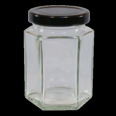 12oz  Hexagonal Glass Food Jar With Black Twist Off Lid - Pack Of 6