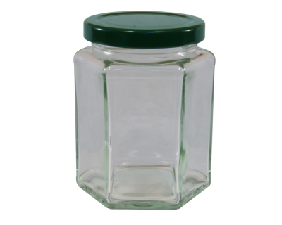 12oz  Hexagonal Glass Food Jar With Green Twist Off Lid - Pack Of 6