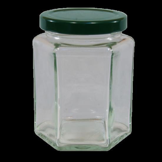 12oz  Hexagonal Glass Food Jar With Green Twist Off Lid - Pack Of 6