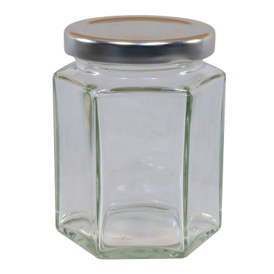 12oz  Hexagonal Glass Food Jar With Silver Twist Off Lid - Pack Of 6