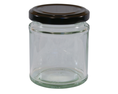 190ml Round Glass Food Jar With Black Twist Off Lid - Pack Of 6