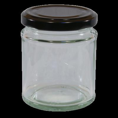 190ml Round Glass Food Jar With Black Twist Off Lid - Pack Of 6