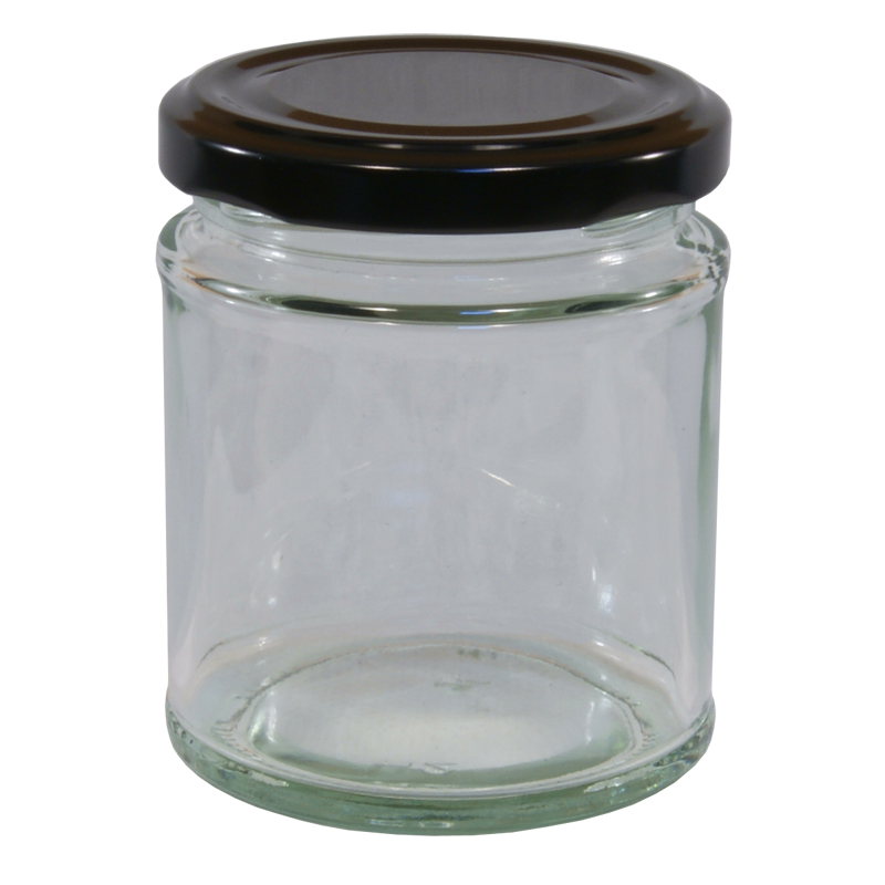 Clear Glass Jam Jar 190ml Round 6 PK of Preserving Jars with Gold Screw Top Lid