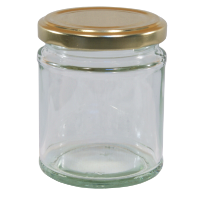 190ml Round Glass Food Jar With Gold Twist Off Lid - Pack Of 6
