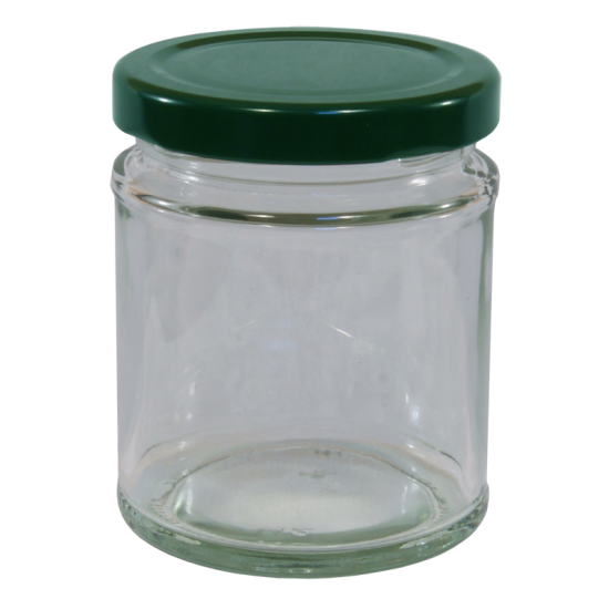 190ml Round Glass Food Jar With Green Twist Off Lid - Pack Of 6