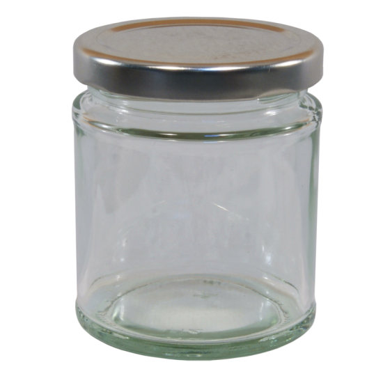 190ml Round Glass Food Jar With Silver Twist Off Lid - Pack Of 6