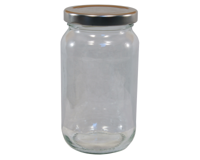 1lb / 380ml Round Glass Jam Jar With Silver Twist Off Lid - Pack Of 6