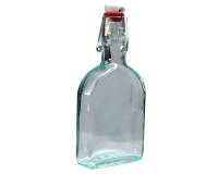 Glass Sloe Gin Hip Flask / Bottle With Ceramic Swing Top - 200ml