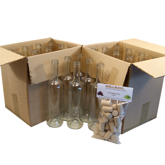 Wine Bottles Clear x 24 - 750ml Glass Including Corks