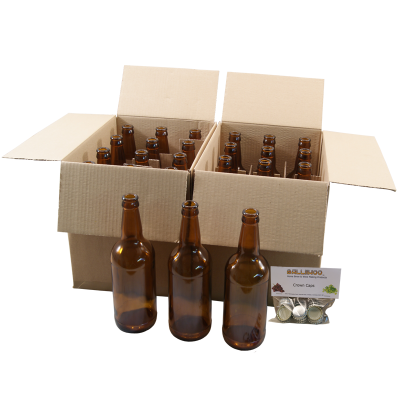 Brown Glass Beer Bottles x 24 With Crown Caps