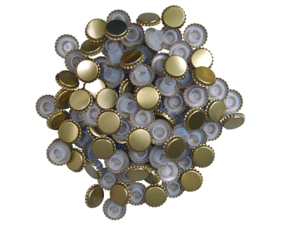 29mm Gold Champagne Bottle Crown Caps With Bidul - Pack Of 100