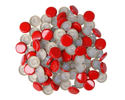 29mm Red Champagne Bottle Crown Caps With Bidul - Pack Of 100