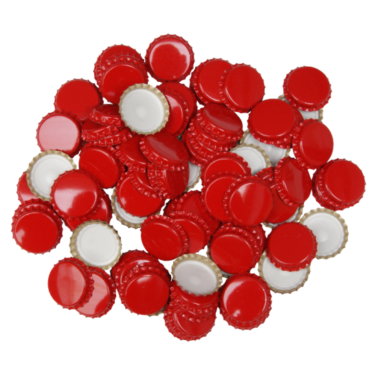 29mm (large) Crown Caps - Red - Pack Of 100 (Not For Standard Beer Bottles)