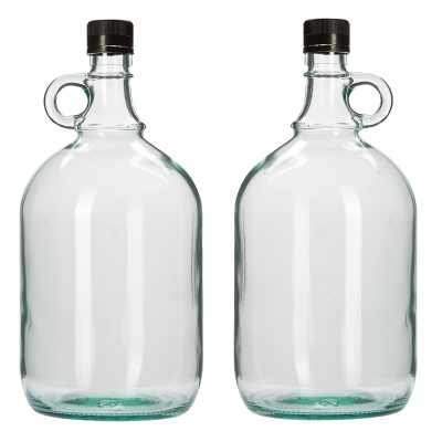 2 Litre Glass Gallone Bottle - Pack of 2 - Flagon Style