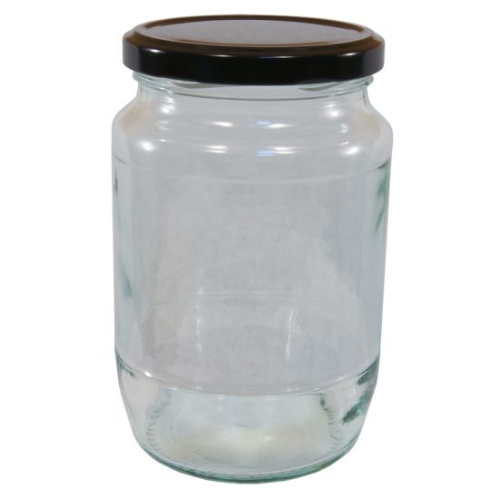 2lb / 900g Round Glass Jam Jar With Black Twist Off Lid - Pack Of 6