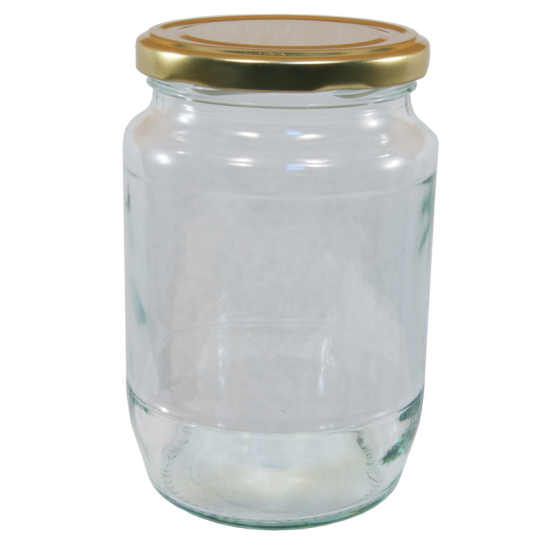 2lb / 900g Round Glass Jam Jar With Gold Twist Off Lid - Pack Of 6