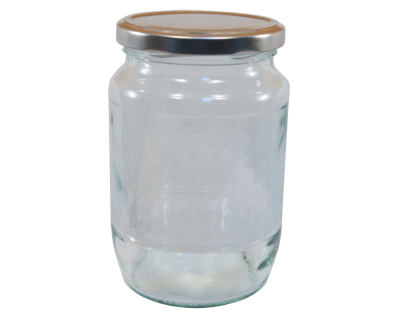 2lb / 900g Round Glass Jam Jar With Silver Twist Off Lid - Pack Of 6