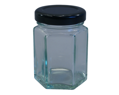 55ml (Small) Hexagonal Glass Food Jars With Black Lids - Pack Of 6