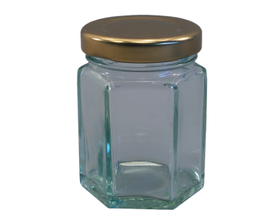55ml (Small) Hexagonal Glass Food Jars With Gold Lids - Pack Of 6
