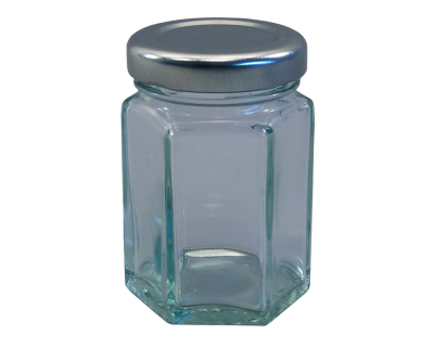 55ml (Small) Hexagonal Glass Food Jars With Silver Lids - Pack Of 6
