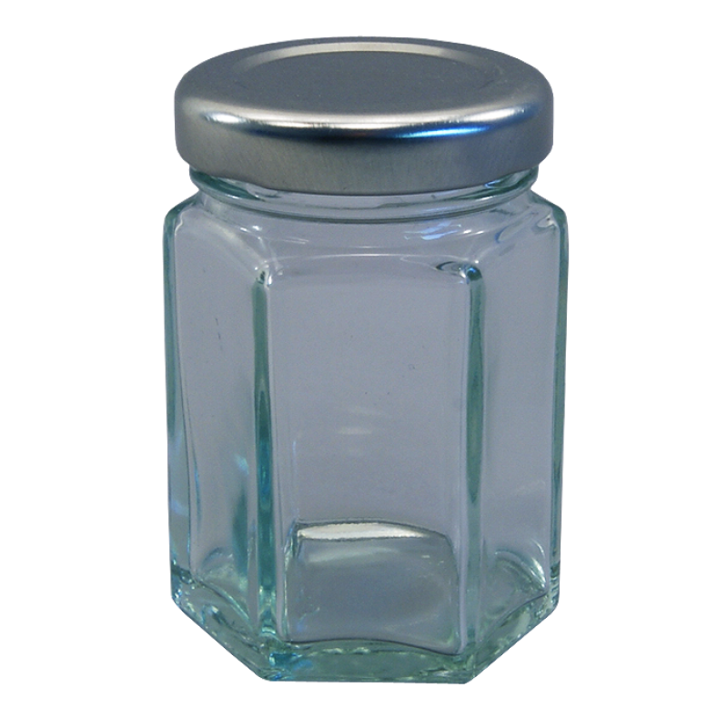 55ml Small Hexagonal Glass Food Jars With Silver Lids