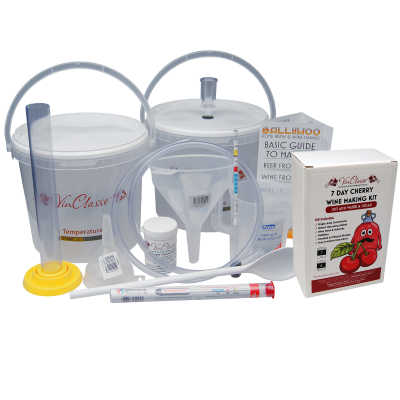 6 Bottle Wine Making Equipment Kit With Cherry