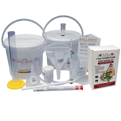 6 Bottle Wine Making Equipment Kit With Elderflower