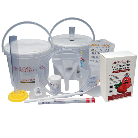 6 Bottle Wine Making Equipment Kit With Strawberry