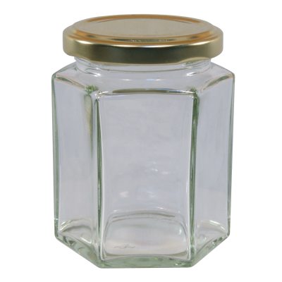 8oz Hexagonal Glass Food Jar With Gold Twist Off Lid - Pack Of 20