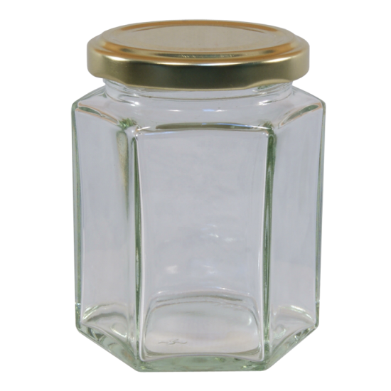 8oz Hexagonal Glass Food Jar With Gold Twist Off Lid - Pack Of 6