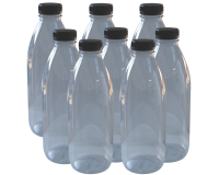 Clear Plastic P.E.T Juice Bottle With Cap - 1 ltr - Pack Of 8