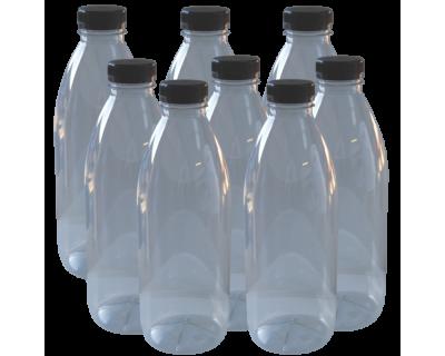 Clear Plastic PET Juice Bottle With Cap - 1 ltr - Pack Of 8