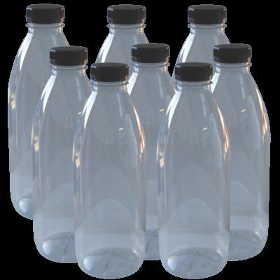 Clear Plastic P.E.T Juice Bottle With Cap - 1 ltr - Pack Of 8
