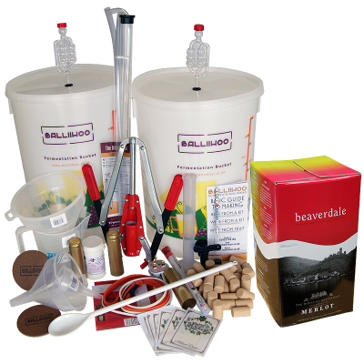 Premium 30 Bottle Wine Making Set With Merlot Ingredient Kit