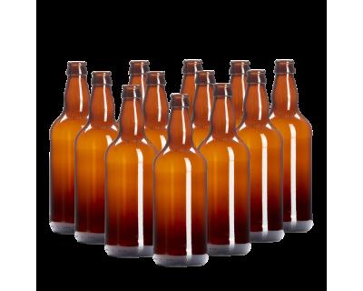 500ml Brown / Amber Glass Beer Bottles Pack of 12
