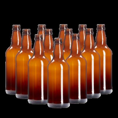 500ml Brown Glass Beer Bottles Pack of 12