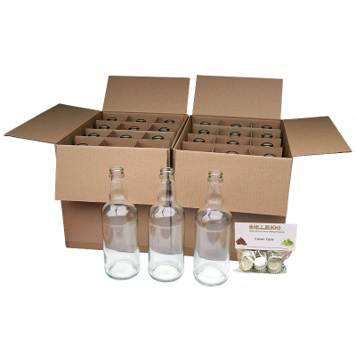 Clear Glass Beer Bottles x 24 With Crown Caps