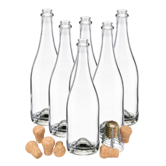 SPECIAL OFFER - Pack Of 6 Clear Champagne Bottles With Traditional Corks & Cages - End Of Line