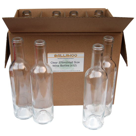 375ml / Half Size Clear Glass Wine Bottles Pack Of 12
