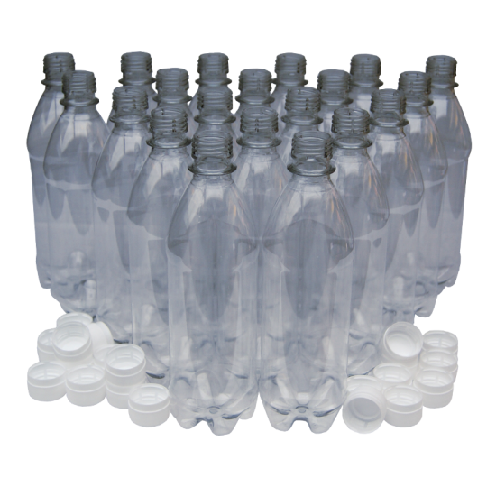 500ml Clear PET Plastic Bottles With White Caps - Pack Of 20