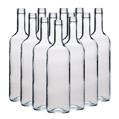 750ml Wine Bottles Clear - Box Of 12 Including Corks