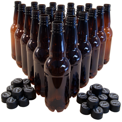 500ml Amber Pet Bottles - Coopers - Pack Of 24