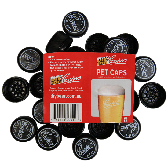 Pack Of 25 x Spare Caps To Fit Coopers 500ml Amber Pet Bottles