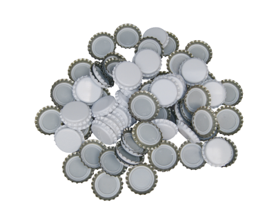 100 x Crown Caps - White