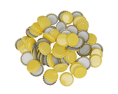 250 Crown Bottle Caps - Yellow