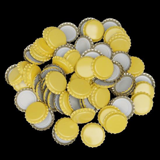 100 x Crown Caps - Yellow